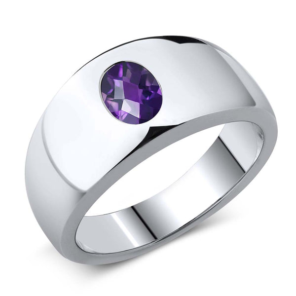 1.00 Ct Oval Checkerboard Purple VS Amethyst 925 Sterling Silver Men's Ring