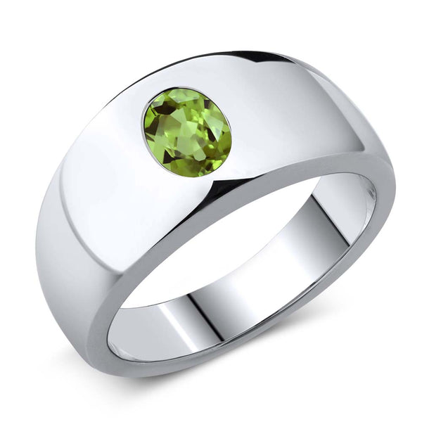 1.33 Ct Oval Green Peridot 925 Sterling Silver Men's Ring