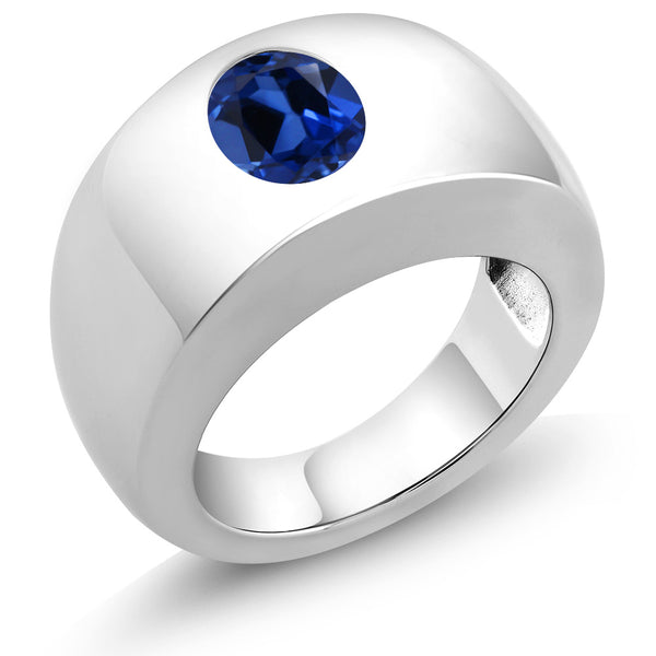 2.30 Ct Oval Blue VS Simulated Sapphire 925 Sterling Silver Men's Solitaire Ring