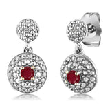 Gem Stone King 0.29 Ct Round Red Ruby White Diamond Rhodium Plated Dangle Earrings