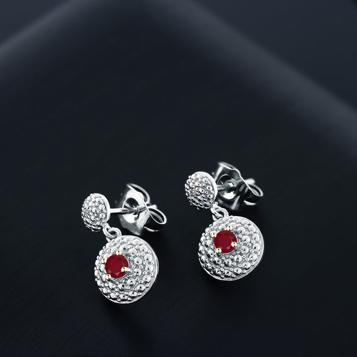 0.29 Ct Round Red Ruby White Diamond Rhodium Plated Dangle Earrings