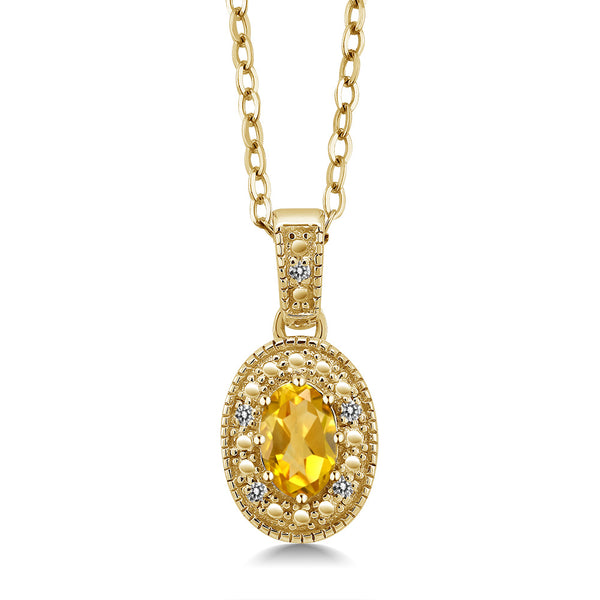 0.44 Ct Oval Yellow Citrine White Diamond 18K Yellow Gold Plated Silver Pendant