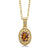 0.44 Ct Orange Red Madeira Citrine Diamond 18K Yellow Gold Plated Silver Pendant