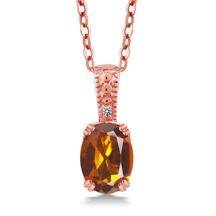 "Gem Stone King Orange Red Madeira Citrine & White Diamond 18K Rose Gold Plated Silver Pendant (1.11 cttw, with 18"" Chain)"