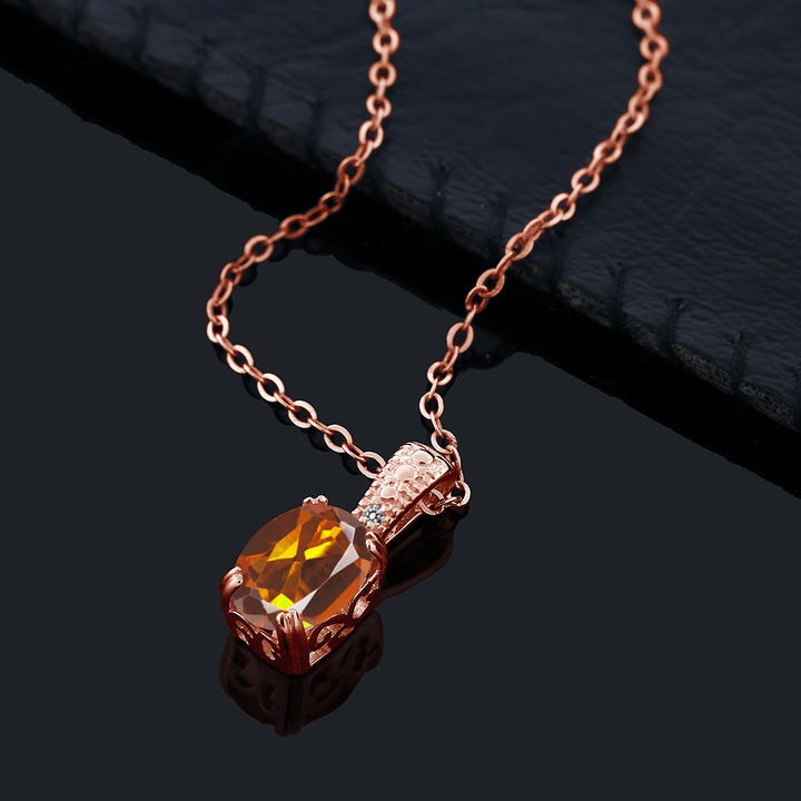 1.11 Ct Orange Red Madeira Citrine Diamond 18K Rose Gold Plated Silver Pendant