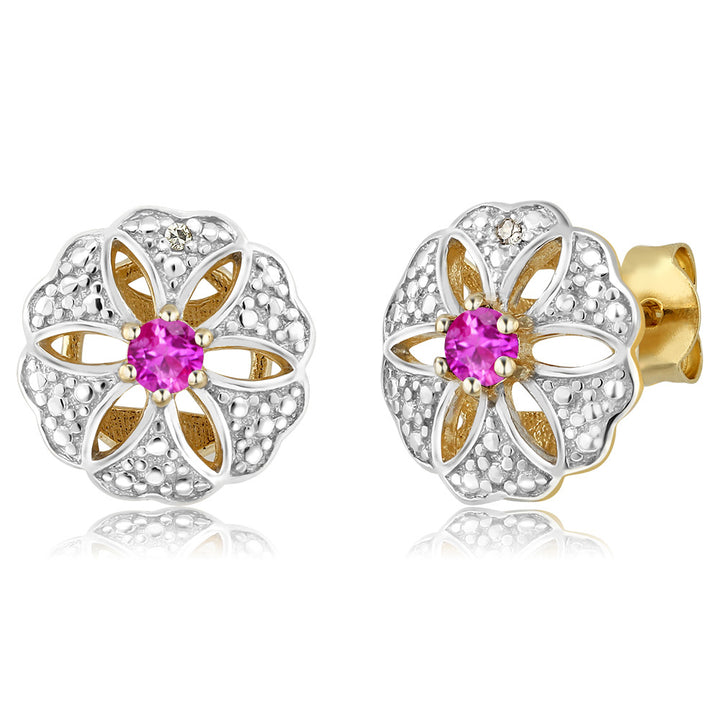 Gem Stone King 0.26 Ct 3mm Pink Sapphire & Accent Diamond 18K Yellow Gold Plated Silver Stud Earrings