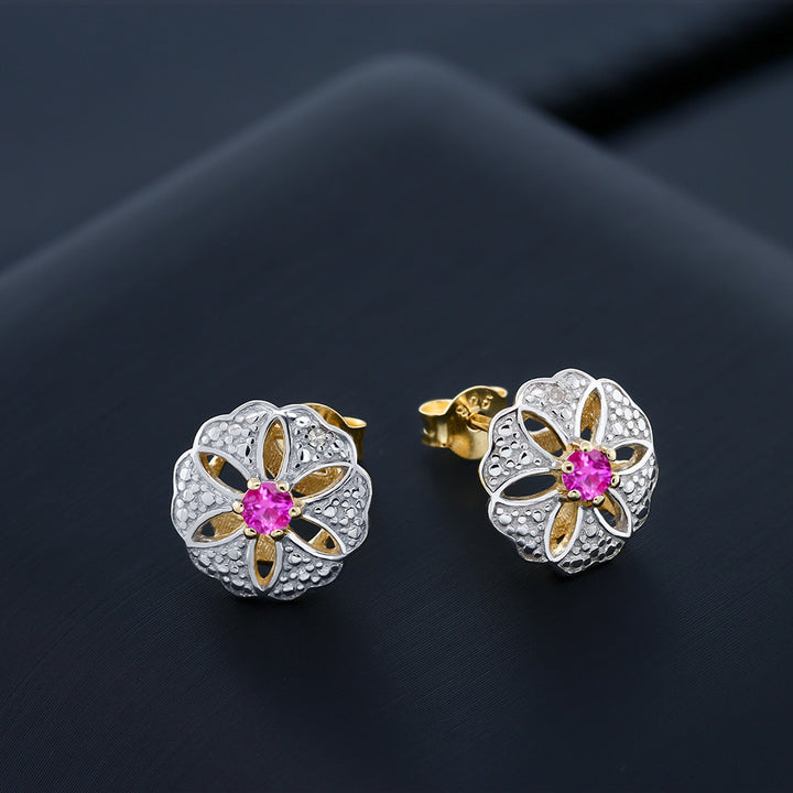 0.26 Ct 3mm Pink Sapphire & Diamond 18K Yellow Gold Plated Silver Stud Earrings