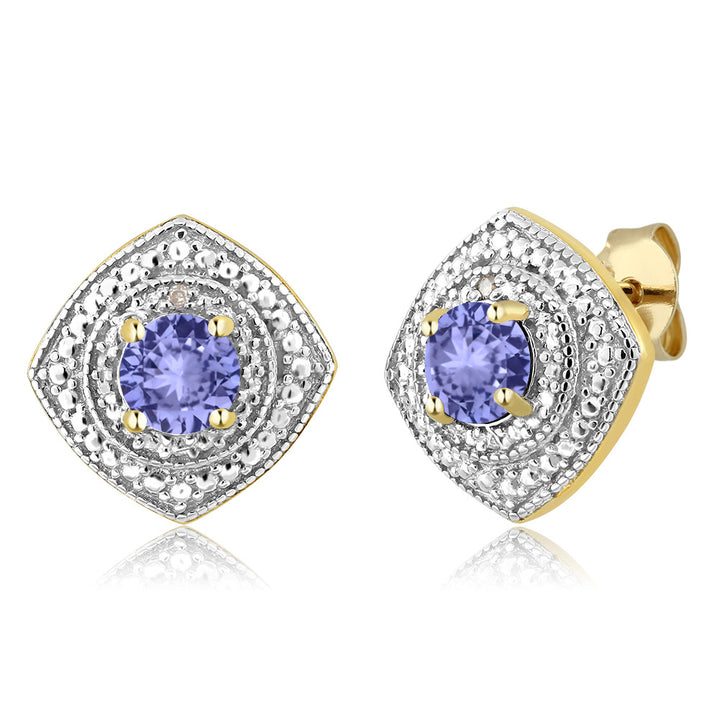 Gem Stone King 0.92 Ct Round Tanzanite with Diamond Accent 18K Yellow Gold Plated Silver Studs