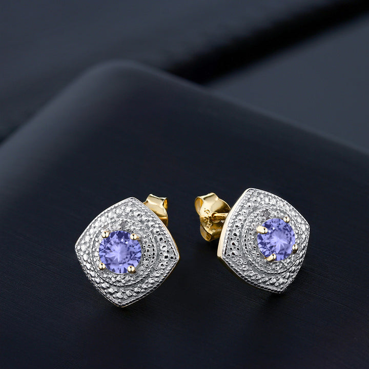 0.92 Ct Round Tanzanite with Diamond Accent 18K Yellow Gold Plated Silver Studs