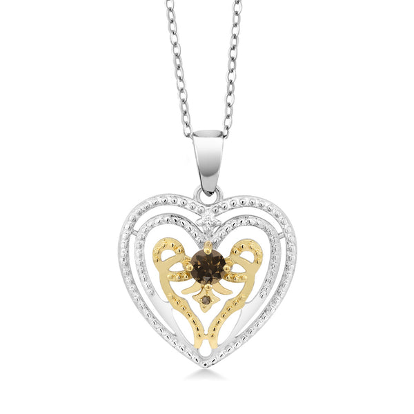 0.26 Ct Smoky Quartz with Diamond Accent Rhodium Plated Heart Pendant With Chain
