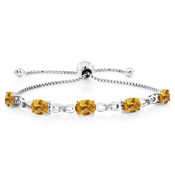 925 Sterling Silver Adjustable Diamond Tennis Bracelet 3.50 ct Oval Citrine