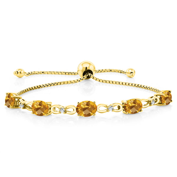 3.50 Ct Oval Yellow Citrine 18K Yellow Gold Plated Silver Diamond Bracelet