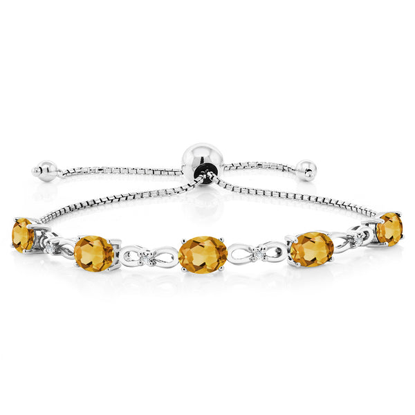 925 Sterling Silver Adjustable Diamond Tennis Bracelet 3.00 ct Oval Citrine
