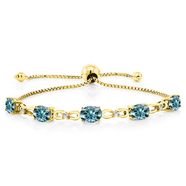 18K Yellow Gold Plated Silver  Bracelet Blue Oval Created Moissanite 4.50ct DEW