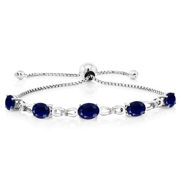 925 Sterling Silver Adjustable Diamond Tennis Bracelet 5.10 ct Oval Sapphire
