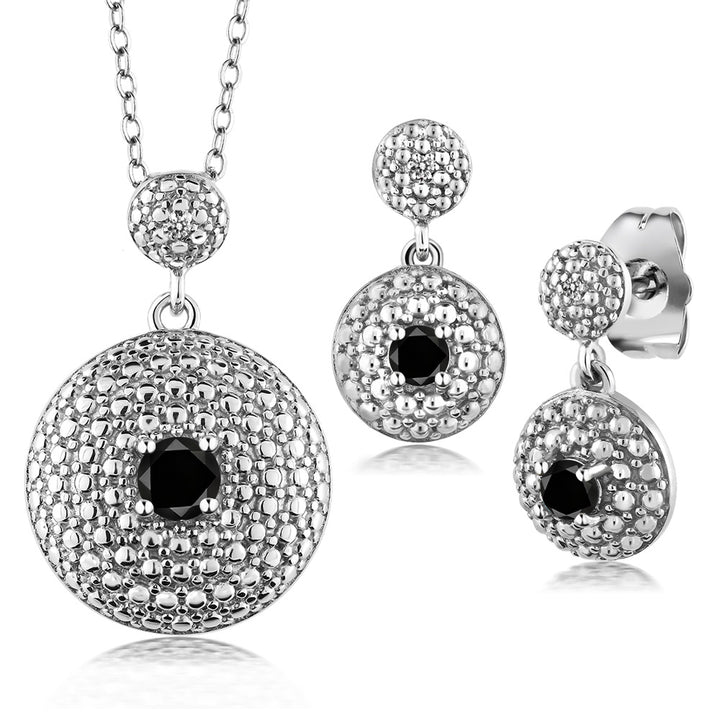 Gem Stone King 0.49 Ct Round Black Diamond Rhodium Plated Pendant Earrings Set