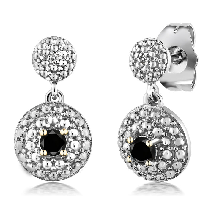 0.49 Ct Round Black Diamond Rhodium Plated Pendant Earrings Set
