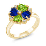 Gem Stone King 2.30 Ct Green Peridot Blue Simulated Sapphire 18K Yellow Gold Plated Silver Ring