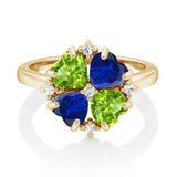2.30 Ct Green Peridot Blue Simulated Sapphire 18K Yellow Gold Plated Silver Ring