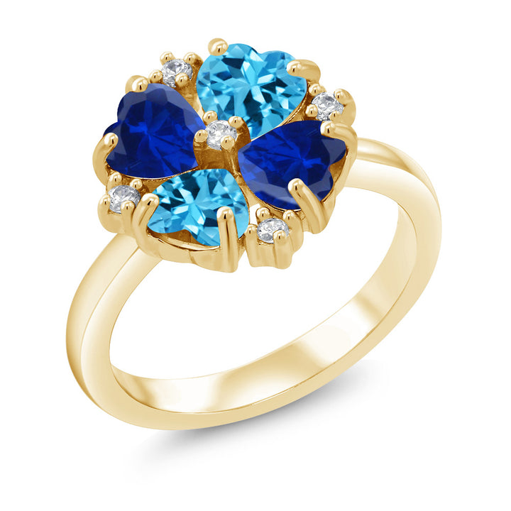 a2367f7c5 Gem Stone King 2.42 Ct Swiss Blue Topaz Simulated Sapphire 18K Yellow Gold  Plated Silver Ring
