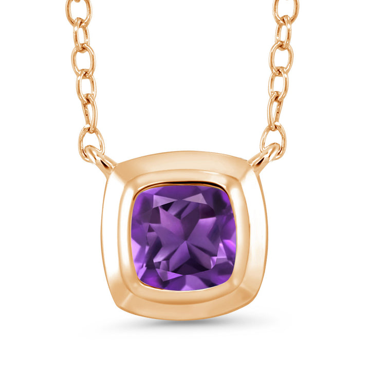 Gem Stone King 0.54 Ct Cushion Purple Amethyst 18K Yellow Gold Plated Silver Pendant With Chain