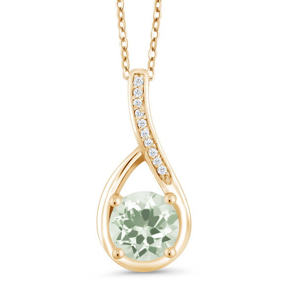 1.02 Ct Round Green Prasiolite and Diamond 18K Yellow Gold Plated Silver Pendant