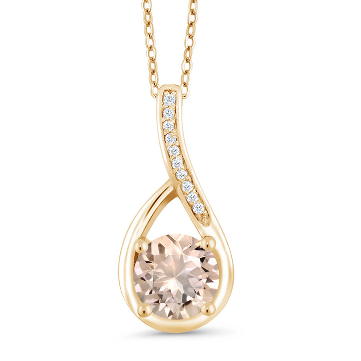 Gem Stone King 0.67 Ct Peach Morganite and Diamond 18K Yellow Gold Plated Silver Infinity Pendant