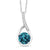 0.82 Ct Round London Blue Topaz and Diamond 925 Sterling Silver Pendant