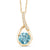 1.27 Ct Round Blue Zircon and Diamond 18K Yellow Gold Plated Silver Pendant