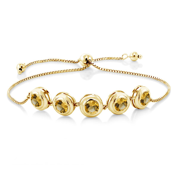 3.50 Ct Round Yellow Citrine 18K Yellow Gold Plated Silver Bracelet