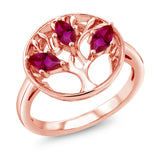 Gem Stone King 0.75 Ct Marquise Red Created Ruby 18K Rose Gold Plated Silver 3-Stone Tree Of Life Ring