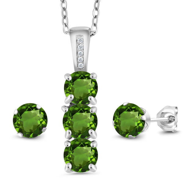 2.54 Ct Green Chrome Diopside White Diamond 925 Silver Pendant Earrings Set