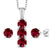 3.04 Ct Red Created Ruby White Diamond 925 Sterling Silver Pendant Earrings Set
