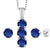 3.04 Ct Blue Simulated Sapphire White Diamond 925 Silver Pendant Earrings Set
