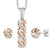 2.04 Ct Peach Morganite White Diamond 925 Sterling Silver Pendant Earrings Set