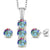 0.04 Ct Mercury Mist Mystic Topaz White Diamond 925 Silver Pendant Earrings Set