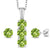 2.54 Ct Round Green Peridot White Diamond 925 Silver Pendant Earrings Set