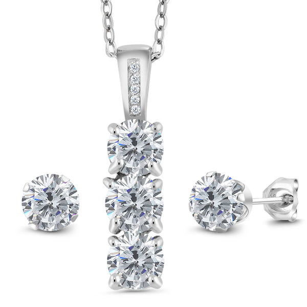 2.54 Ct Round G/H Diamond White Diamond 925 Sterling Silver Pendant Earrings Set