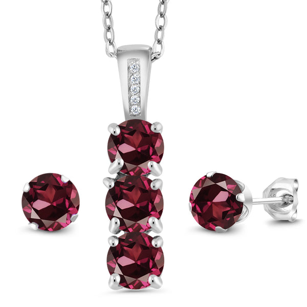 3.04 Ct Red Rhodolite Garnet White Diamond 925 Silver Pendant Earrings Set