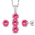 925 Silver Pendant Earrings Set Diamond and Set with Pink Topaz from Swarovski