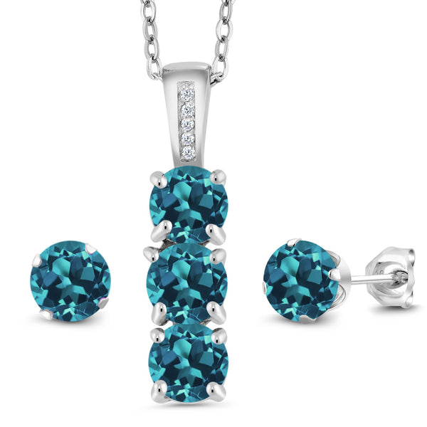 2.54 Ct London Blue Topaz White Diamond 925 Sterling Silver Pendant Earrings Set