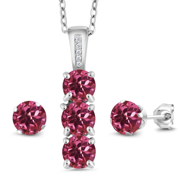 2.54 Ct Pink Tourmaline White Diamond 925 Sterling Silver Pendant Earrings Set