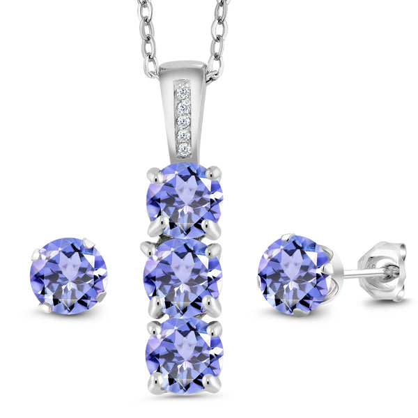 2.34 Ct Blue Tanzanite White Diamond 925 Sterling Silver Pendant Earrings Set