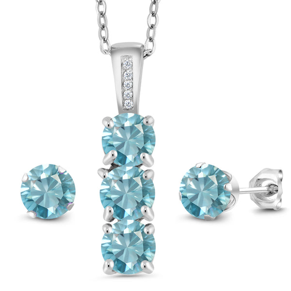 4.29 Ct Round Blue Zircon White Diamond 925 Sterling Silver Pendant Earrings Set