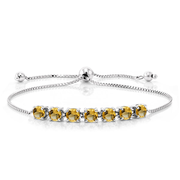 2.24 Ct Round Yellow Citrine 925 Sterling Silver Adjustable Bracelet