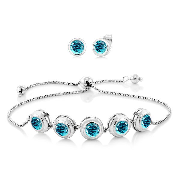 925 Sterling Silver Bracelet Earrings set w/ Round Paraiba Topaz from Swarovski