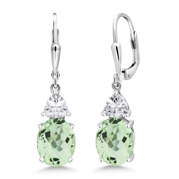 4.20 Ct Oval Green Prasiolite 925 Sterling Silver Earrings