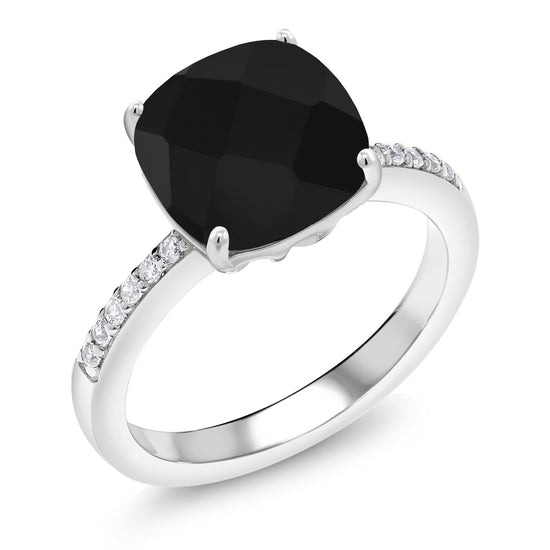 Gem Stone King 925 Sterling Silver Black Onyx Women's Engagement Ring (3.72 Cttw Cushion Checkerboard Cut 10MM, Available 5,6,7,8,9)
