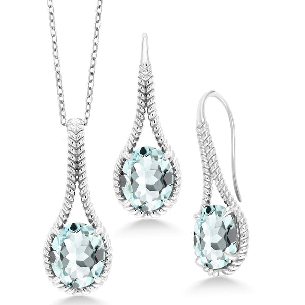 11.79 Ct Sky Blue Simulated Aquamarine 925 Silver Pendant Earrings Set w/ Chain