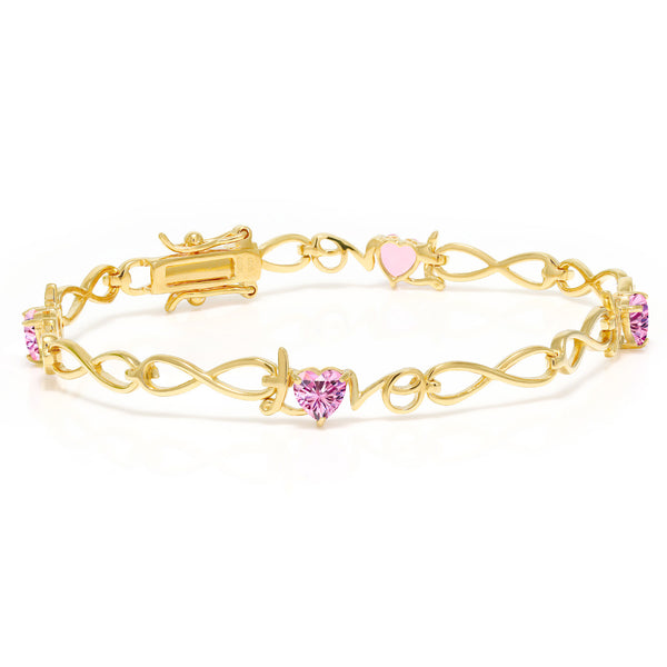 18K Yellow Gold Plated Silver Bracelet Pink Created Moissanite 2.00ct DEW